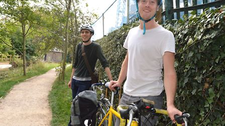 Ramzy Alwakeel and Will McCallum from Greenpeace on the Wetlands to Wetlands cycle route. Picture: P