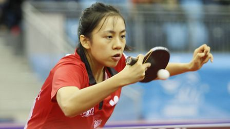 Tin-Tin Ho in action at the European Championships. Pic: ITTF