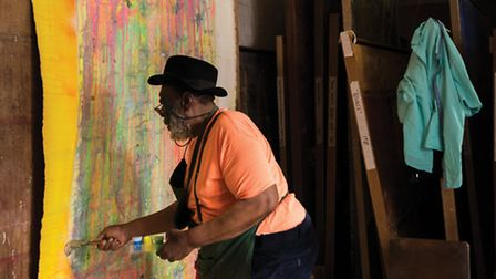 Frank Bowling in his London Studio, 2015. Image courtesy the artist and Hales London New York. Photo