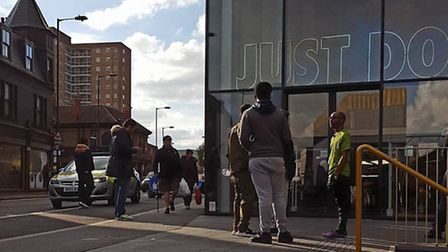 The Hackney Nike store was evacuated on Saturday afternoon. Picture: Tracey Simpkins