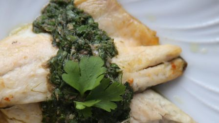 Salsa Verde with sea bass and potato. Picture: Kerstin Rodgers