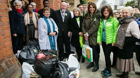 Chief Rabbi and South Hampstead Synagogue members at St Mary's Church Shelter Picture: Yakir Zur