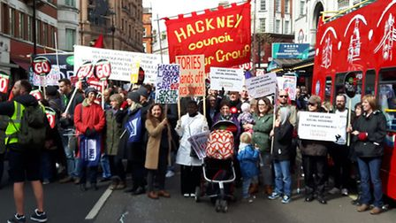 Hackney campaigners march against the housing bill in central London earlier this year