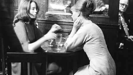 Christine Keeler and Mandy Rice-Davies taking a break from the trial of society osteopath Stephen Wa