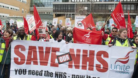 A previous march against proposed cuts to the Whittington Hospital. Photo: Nigel Sutton