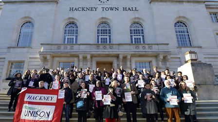 The launch of the campaign, outside the Town Hall