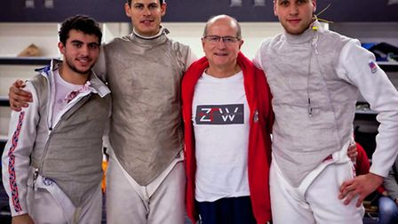 From left: The ZFW A team of Alex Tofalides, Richard Kruse and Alex Choupenitch with head coach Ziem