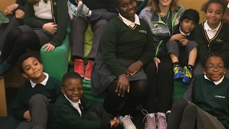 Teacher Annaleigh Knott with students from Nightingale Primary School who wore trainers for the day