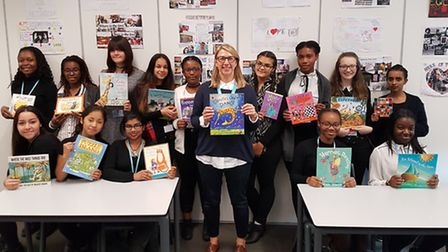 Beanstalk co-ordinator Jo Holmes, pictured with Year 12 pupils from Our Lady's Convent High School a