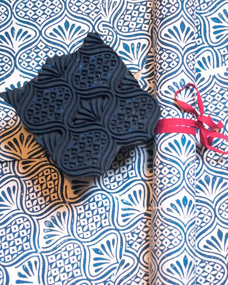 Hand block printing wrapping paper