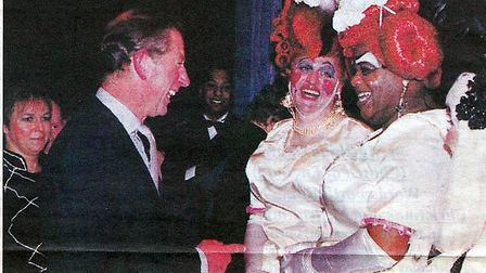Prince Charles with Dick Whittington dames Clive Rowe and Tony Whittle in 1999