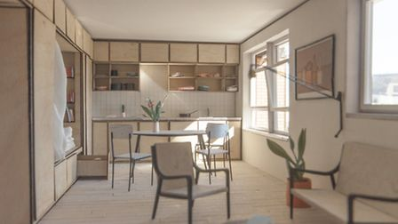 The proposed design for the renovated bedsits in Gooch House