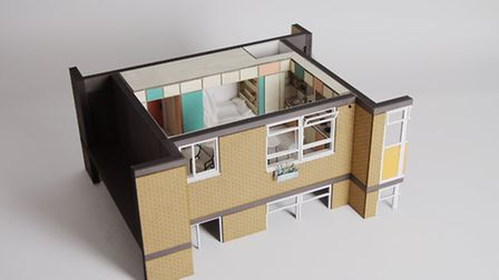 Scale model of the proposed design for the 16 Gooch House bedsits