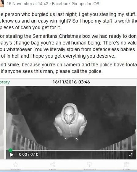 The woman posted a CCTV image on Facebook on the afternoon of the burglary
