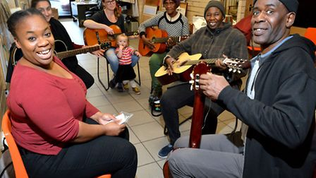 Tanisha (left) joins the over 50s Guitar drop in session at Wayside Community Centre, Lower Clapton