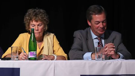 Kate Hoey MP and Nigel Farage at a Leave Means Leave rally in Bolton Photo: PA / Peter Byrne