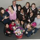 Alexandra Wylie Tower Foundation food collection at Channing SchoolChanning students pictured with