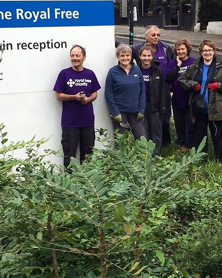 Volunteers at the garden at the Royal Free Hospital