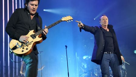 Jim Kerr and Charlie Burchill of Simple Minds perform live at Wembley Arena. Picture: Matt Crossick/