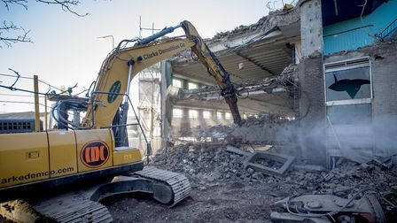 Work is well under way with the demolition of the Battery Green car park in Lowestoft. Picture: Nick