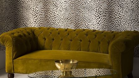 Leopard print, beige, wallpaper, £20 a roll, available from Graham and Brown. PA Photo/Handout