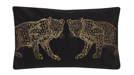 Biba embroidered leopard cushion, £36, available from House of Fraser. PA Photo/Handout
