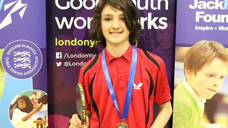 Camden's David Ismaili won the Under-16 boys' event at the Youth Club Table Tennis Festival