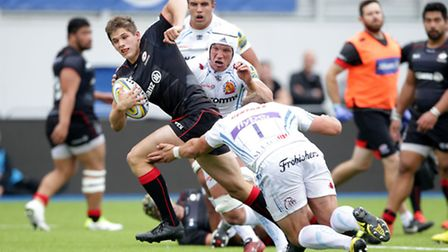 Tom Griffiths in action for Saracens. Pic: Matthew Impey/Wired Photos