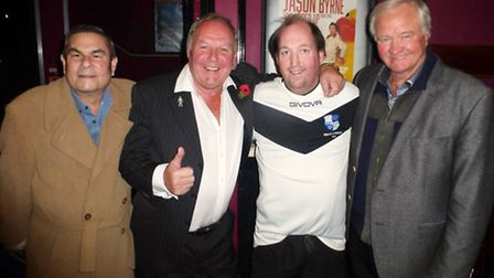 Wingate & Finchley fan Tom Salinger (second from right) with Eric Hall, Barry Fry and Ron Atkinson