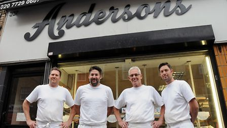 The Anderson lads, Mark, Simon, Colin and Peter, outside Andersons Bakery in Hoxton Street. Picture: