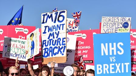 Young people head up the People's Vote March in London in October 2018. (Photo by John Keeble/Getty