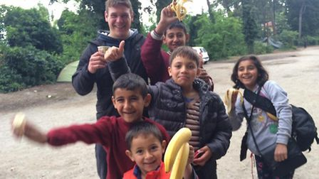 Refugees at Thessaloniki with Team Bananas