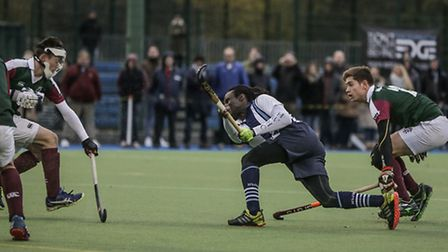 Hampstead & Westminster player-coach Kwan Browne flicks the ball home to make it 4-3. Picture: Mark