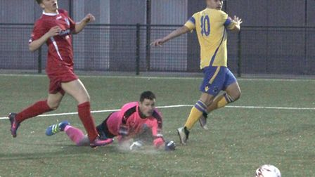 Haringey's Adrian Markus (right) has scored four goals in the last two games. Picture: Tony Gay