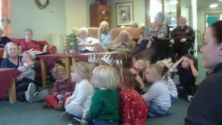 Children from Brambles Nursery in Reydon visited Pitches View care home to spread Christmas cheer. P