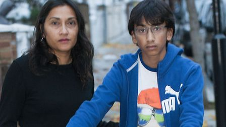 Rooma Parmar with her son Nilesh, who was knocked down by a cyclist who didn't stop. He suffered sho