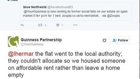 The tweet Guinness sent in response to a question about the Zoopla listing