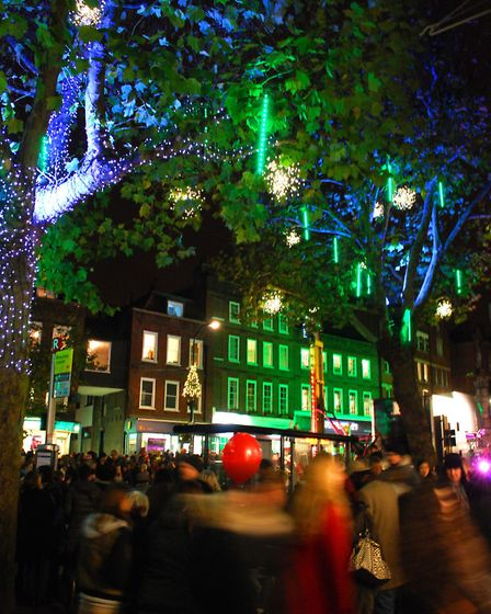 Christmas Lights in Hampstead High Street in 2013