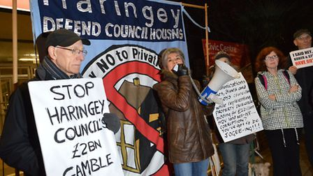 'Stop the �2bn gamble' demand protesters outside Haringey Civic Centre. Picture: Polly Hancock