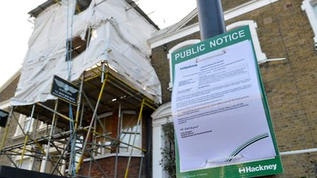 A public notice has been pinned to a lamppost outside. Picture: Polly Hancock.