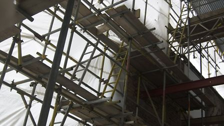 A glimpse inside the building site on the property. Picture: Byzantia Harlow