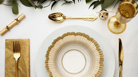 Party Porcelain gold collection: bowls, �12 pack; cutlery, set of six knives, forks, spoons, �7; gol