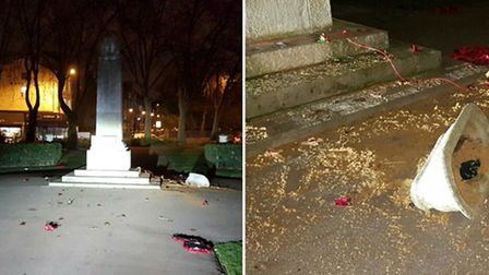 A woman has been arrested after the war memorial in Hackney Wick was vandalised. Picture: Met Police