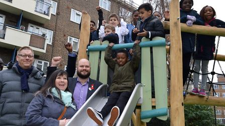 Mayor of Hackney Philip Glanville joins kids, vice chair of the TMO Michelle Gregory and Andrew Siss