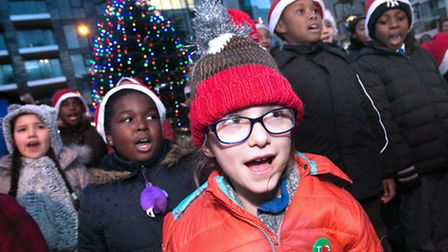 Children from Woodberry Down Primary School sing (Photo: Hackney Council/ Gary Manhine)