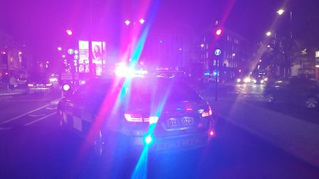 Police were called to Old Street at the junction with Great Eastern Street at 7pm. Picture: @MPSHack