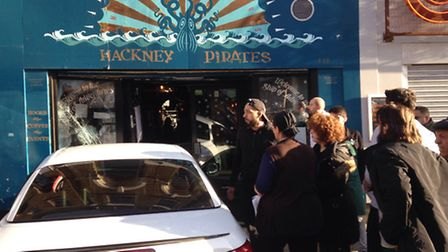 The scene after a car crashed into the Hackney Pirates charity shop on Sunday afternoon.