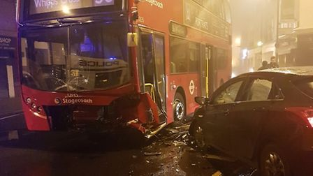 A bus and a car crashed in Dalston Lane. Picture: Hackney Police