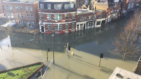A birdseye view of the flood. Picture: Sarah Nurse.