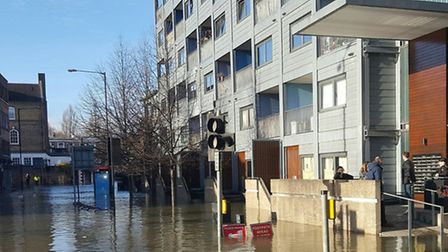 People were evacuated from their homes by medics who brought their dinghys. Picture: @LAS_HART.